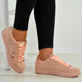 Alanna Pink Side Flower Trainers