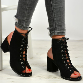 Mya Black Lace Up Sandals