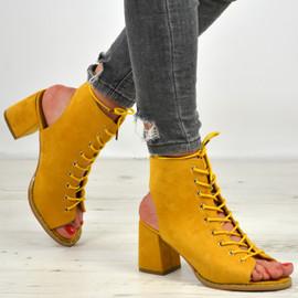 Mya Yellow Lace Up Sandals