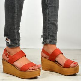 Annie Orange Ankle Strap Platform Sandals