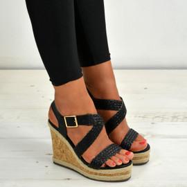 Nina Black Cork Wedge Sandals