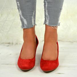 Kamari Red Mid Heel Pumps