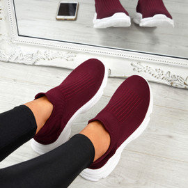 Vanny Wine Red Slip On Trainers