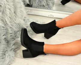 Keyla Black Suede Zip Ankle Boots