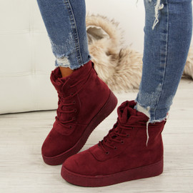 Elisa Wine Red Lace Up Ankle Boots