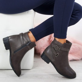 Vero Grey Buckle Ankle Boots