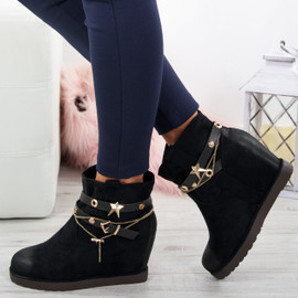 Isabell Black Wedge Ankle Boots