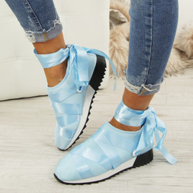 Loa Blue Lycra Ankle Tie Trainers