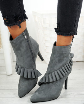Seegra Grey Ruffle Stiletto Ankle Boots