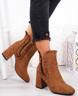 Amallie Camel Ruffle Ankle Boots