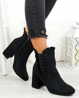 Amallie Black Ruffle Ankle Boots