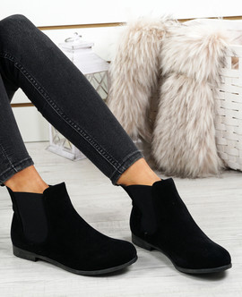 Nagi Black Suede Chelsea Ankle Boots