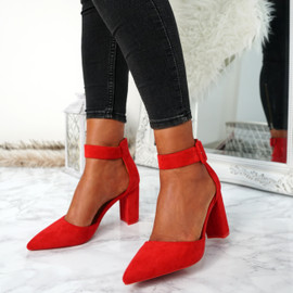 Bim Red Ankle Strap Pumps