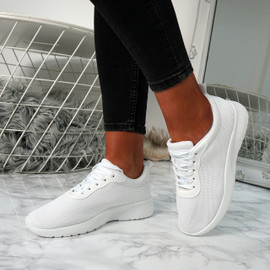 Lanyx White Lace Up Trainers
