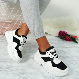 Lima Black Lace Up Sneakers