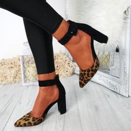 Bim Leopard Ankle Strap Pumps