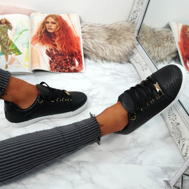Nuyma Black Croc Skate Shoes