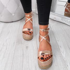 Wiza Champagne Flatform Sandals