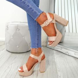 Gilla Nude Block Heel Sandals