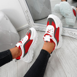 Sunna Red Chunky Trainers