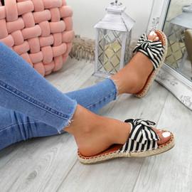 Voka Black Bow Flat Sandals