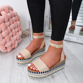 Sinka Apricot Flatform Sandals