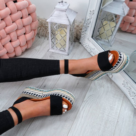 Sinka Black Flatform Sandals