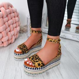Sinka Leopard Flatform Sandals