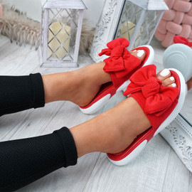 Lufa Red Bow Sliders Sandals