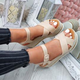 Amyt Beige Espadrille Wedge Sandals