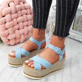 Amyt Blue Espadrille Wedge Sandals