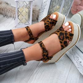 Amyt Leopard Espadrille Wedge Sandals