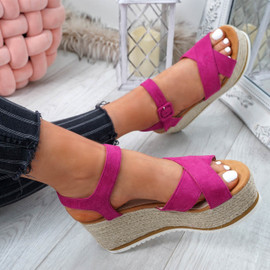 Amyt Purple Espadrille Wedge Sandals