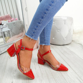 Yelly Red Clear Block Heel Pumps