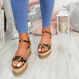 Risse Leopard Platform Sandals
