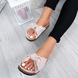 Issil Pink Bow Flat Sandals