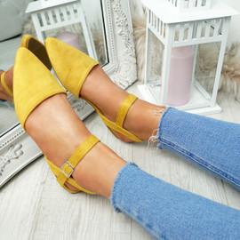 Tenna Yellow Ankle Strap Flat Ballerinas
