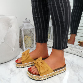 Cannya Yellow Bow Flatforms