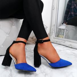 Amara Blue Block Heel Pumps