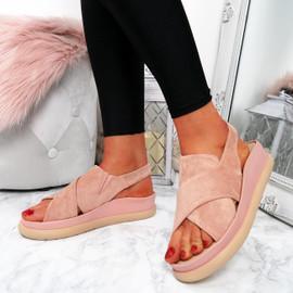 Skylar Pink Sling Back Flatforms