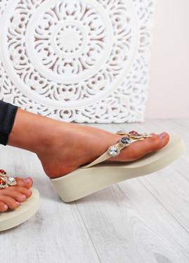 Marin Khaki Rhinestone Sandals