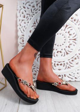 Marin Black Rhinestone Sandals
