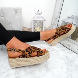 Moriah Leopard Sling Back Flatforms