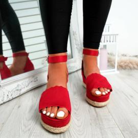 Mireya Red Wedge Platform Sandals