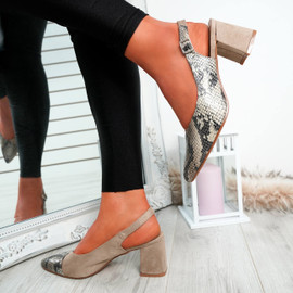 Caffo Beige Snake Pointed Pumps