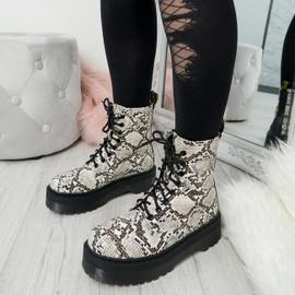 Benka Beige Snake Ankle Boots