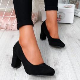 Novia Black Slip On Court Pumps