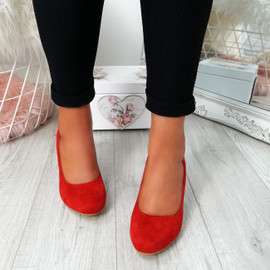 Novia Red Slip On Court Pumps