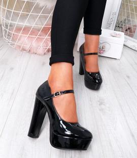 Serette Black Block Heel Pumps