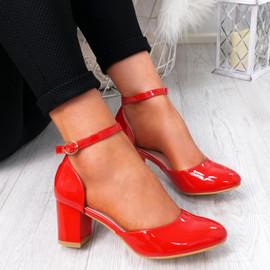 Menda Red Ankle Strap Pumps